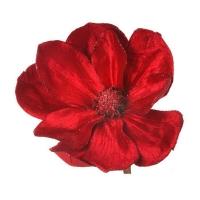 Poinsettia rouge en velour sur clip 26''