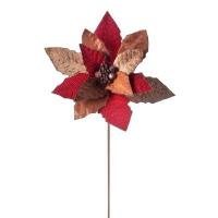 Poinsettia rouge et cuivre sur tige 24''