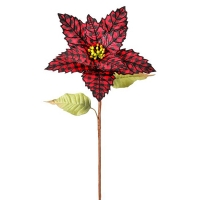 Poinsettia sur tige, motif en damier rouge et noir, 29''