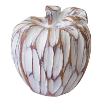 Pomme décorative blanche, effet bois vieilli