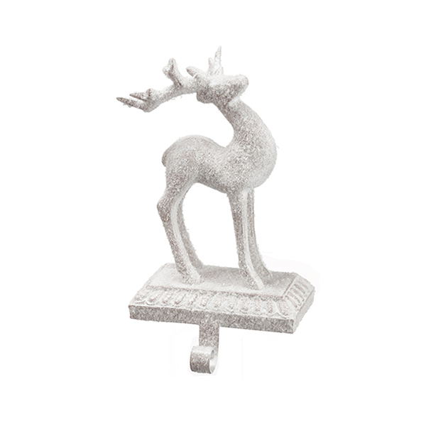 Porte bas de no l renne blanc brillant 9 39 39 d cors v ronneau for Decoration porte renne