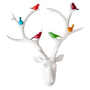 t te de chevreuil blanche avec oiseaux color s d cors v ronneau. Black Bedroom Furniture Sets. Home Design Ideas