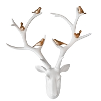 White And Gold Stag Head  Jewelry Holder