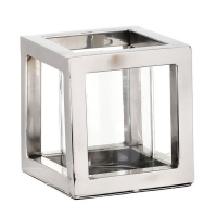 3,5'' Stainless steel and glass square candle holder