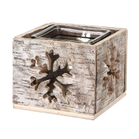 Frosted square birch and glass candle holder 5''