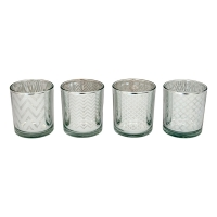 Silver Tealight Holder, 3 X 3 X 3''