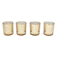 Gold Tealight Holder, 3 X 3 X 3''