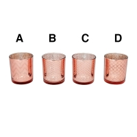 Porte lampion en verre rose, 3 X 3 X 3''