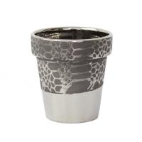 Silver ceramique planter 4 x 4 x 4''