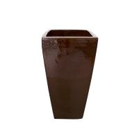 Pot brun en terre cuite céramiqué 10 x 10 x 20''