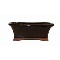 Pot carré brun foncé en terre cuite 10x8x4''