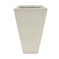 Pot carré en fibre de verre blanc sable 12,5 x 12,5 x 25,5''