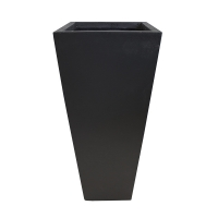 Pot carré en fibre de verre noir 12,5 x 12,5 x 25,5''