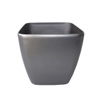 Pot carré en plastique gris, int./ext. 14''