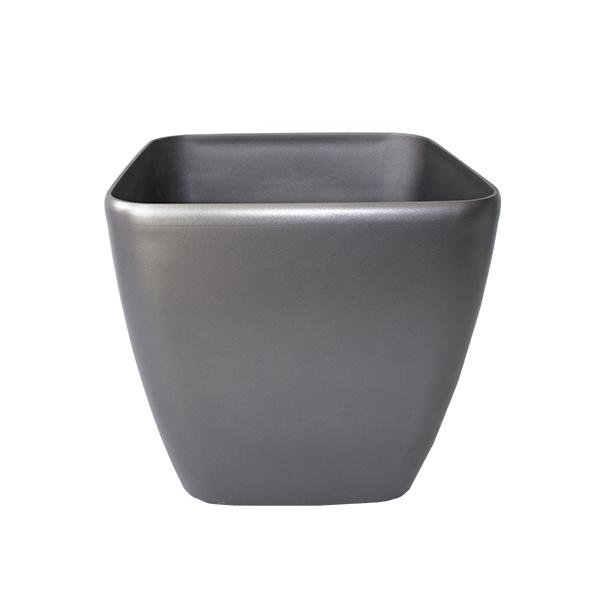Pot carr en plastique gris int ext 14 39 39 d cors v ronneau for Pot exterieur gris