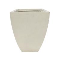 Pot carré évasé en fibre de verre blanc sable 10 x 10 x 16''