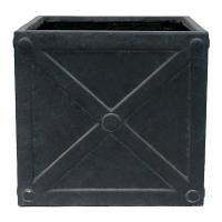 Pot carré gris, 16,5 x 18''