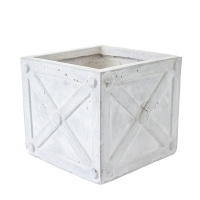 Square Beige Pot, 10 x 11 x 11''