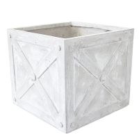 Square Beige Pot, 12,5 x 14 x 14''
