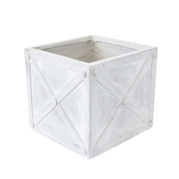 Square Beige Pot, 8 x 9 x 9''