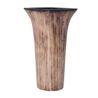 Pot en céramique de couleur beige ligné brun 9x6x15''