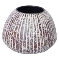 Round white and brown ceramic pot 9x6.5''