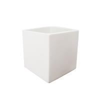 Pot cubique en céramique blanc mat 5 x 5 x 5''