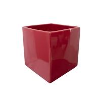 Pot cubique en céramique rouge 5 x 5 x 5''