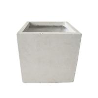 Off white fiberglass cubic planter 11 x 11 x 11''