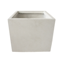 Off white fiberglass cubic planter 13 x 13 x 12''