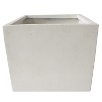 Off white fiberglass cubic planter 17,5 x 17,5 x 15''