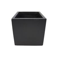 Pot cubique en fibre de verre noir 13 x 13 x 12''