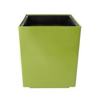 Pot cubique en plastique vert, int./ext. 10,5''