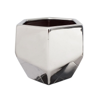 Pot en céramique argent 6,5 x 6,5 x 5,5''