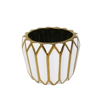 White & Gold Planter, 7''