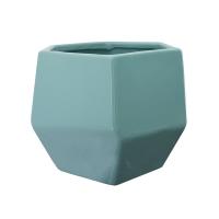 Pot en céramique bleu lustré 6,5 x 6,5 x 5,5''