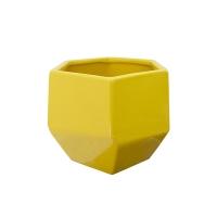 Pot en céramique jaune 6,5 x 6,5 x 5,5''