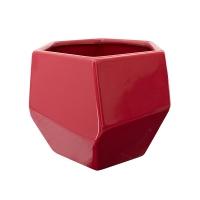 Pot en céramique rouge 6,5 x 6,5 x 5,5''