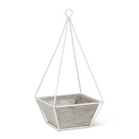 Pot en ciment et structure pyramide en métal 13 x 6 x 6''
