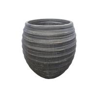 Round Grey Fiberglass Outdoor Pot, 16''