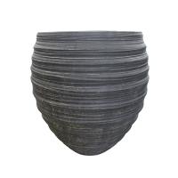 Round Grey Fiberglass Outdoor Pot, 23''