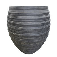 Round Grey Fiberglass Outdoor Pot, 32''