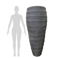 Textured Grey Fiberglass Outdoor Pot, 59''