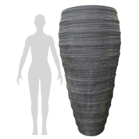 Textured Grey Fiberglass Outdoor Pot, 69''