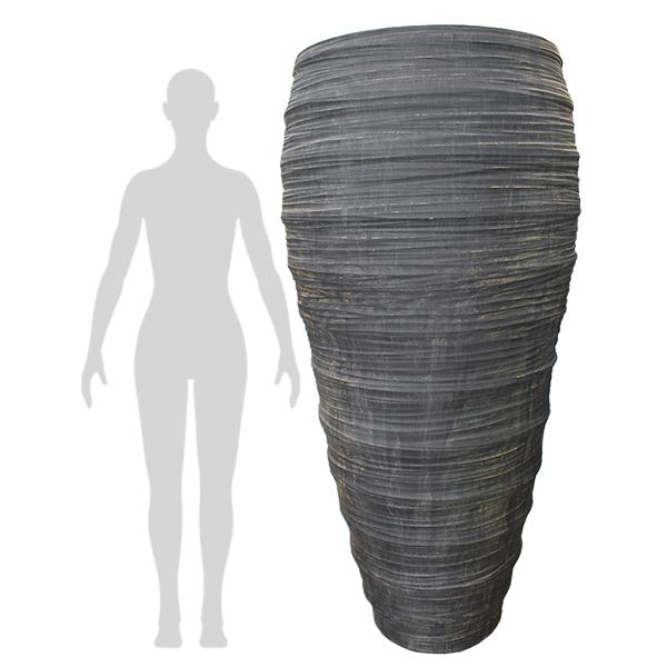 Pot ext rieur gris textur 69 39 39 d cors v ronneau for Pot exterieur gris