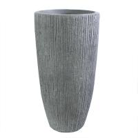 Pot en fibre de verre gris strié int./ext. 22x22x39,5''
