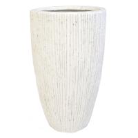 Pot en fibre de verre strié ivoire int./ext. 22x22x39.5'