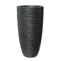 Pot en fibre de verre strié noir int./ext. 22x22x39,5''
