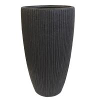 Pot en fibre de verre ligné noir int./ext 22x22x39.5''