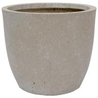 Flared grey clay fiber planter, 11 x 12,5''